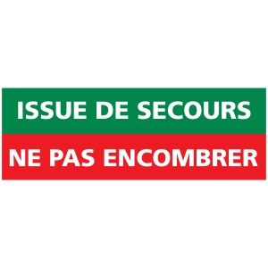 INDICATEUR D ISSUE DE SECOURS  A NE PAS ENCOMBRER EN PVC 350X125MM