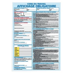 Panneau affichage obligatoire en PVC A3