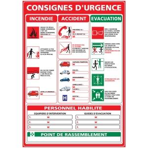Panneau consignes d urgence adhésif A3