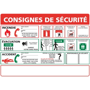 Panneau autocollant - Consignes de sécurité - A3