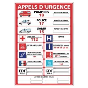 Panneau appels d urgence en PVC A3