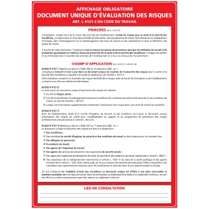 PANNEAU DE DOCUMENT UNIQUE D EVALUATION DES RISQUES EN PVC A3