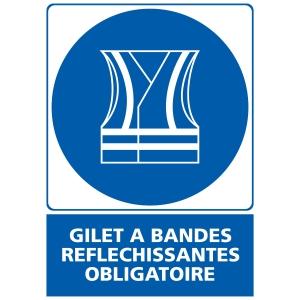 Panneau adhésif PVC - Gilet à bandes réfléchissantes obligatoire - A5