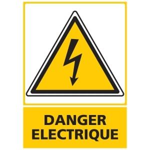 Panneau danger électrique adhésif 150 x 210 mm