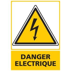 Panneau danger électrique adhésif 300 x 420 mm