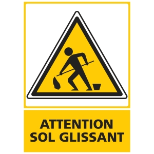 PANNEAU ATTENTION SOL GLISSANT EN PVC  150 X 210 MM