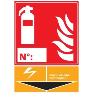 Panneau adhésif PVC - Extincteur feux d origine électrique - A3