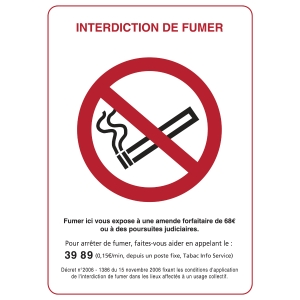INDICATEUR D INTERDICTION DE FUMER ADHESIF 150X210 MM