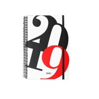 Agenda espiral de sobremesa BERLIN, día página de 150 x 210 mm. Color blanco