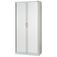 Armario metálico de persiana con 4 estantes 1380x1000x450cm aluminio/aluminio