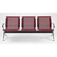 Bancada metálica   brazos LYRECO 3 asientos color rojo Dim: 1800x800x750 mm