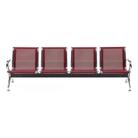 Bancada metálica   brazos LYRECO 4 asientos color rojo Dim: 2400x800x750 mm