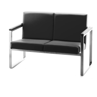 Sillon sala de espera LYRECO Serie 7000 2 asientos negro Dim: 1140x810x670 mm