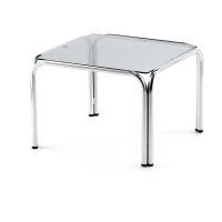 Mesa de sala de espera LYRECO de cristal Dim: 650x650x400 mm