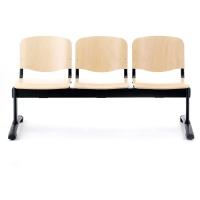 Bancada de 3 asientos LYRECO de madera estructura de meta Dim: 1500x780x430 mm
