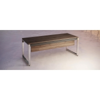 Mesa Atlantic Luxe estructura y pies metálicos color nogal/cromado  200x90x74