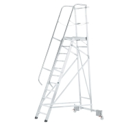 Escalera profesional ZARGES con plataforma grande y 14 peldaños