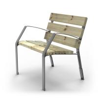 Silla urbana, patas de fundición ductil martelé 6 listones madera 35x110x700 mm