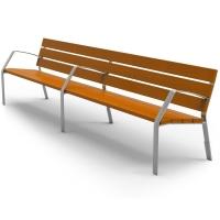 Banco urbano 7 listones de madera tropical de 35x110x3000 mm,