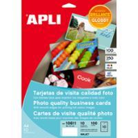 Caja de 100 tarjetas de visita de 250g/m2 APLI de 89 x 51 mm