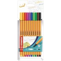 Pack de 10 rotuladores con punta fina STABILO POINT 88 multicolor