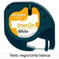 Cinta termotransferible DYMO LetraTag de tela con letra negra/fondo blanco
