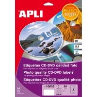 Caja de 20 etiquetas CD/DVD blanca brillante APLI calidad foto diámetro 117 mm