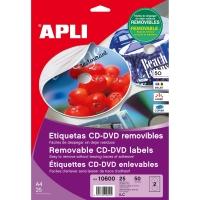 Caja de 50 etiquetas CD/DVD removibles APLI con diámetro 117 mm