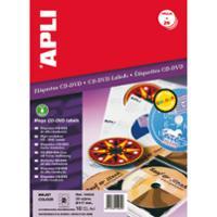 Caja de 20 etiquetas CD/DVD de alta resolución APLI con diámetro 117 mm