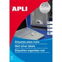Caja de 20 etiquetas de poliéster APLI 10071 cantos rectos metalizadas