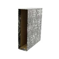 Cajetín palanca cartón jaspeado lomo 82mm  formato cuarto apaisado  LYRECO