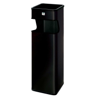 Papelera/cenicero metal negra c/recoge colillas B-33 Dimensiones: 180x660x180mm