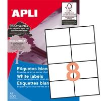 Caja de 4000 etiquetas autoadhesivas APLI 1796 cantos rectos 105x74mm blancas