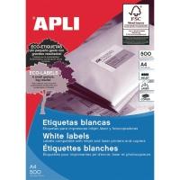 Caja de 2400 etiquetas autoadhesivas APLI 1273 cantos rectos 70x37mm blancas