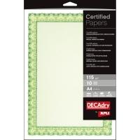 Paquete de 10 certificados A4 de 115g/m2 APLI color verde