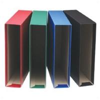 Cajetín Folio  color azul  para archivadores de lomo 80mm