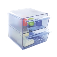 Módulo de organización  cubo con 2 cajones  azul