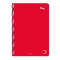 Cuaderno PACSA Institut 80 hojas formato 4º microperforado cuadriculado rojo