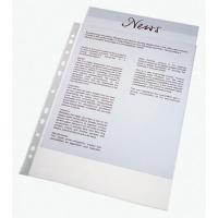 Pack de 100 fundas multitaladro folio  16 taladros PP cristal 110 micras ESSELTE