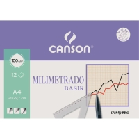 Paquete 12 hojas milimetrado CANSON Basik 100 g/m2 A4