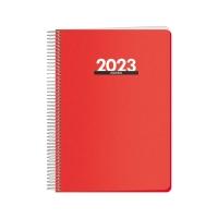 Agenda espiral de sobremesa METROPOLI, día página de 150 x 210 mm. Color rojo