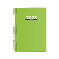 Agenda espiral de sobremesa METROPOLI, día página de 150 x 210 mm. Color verde