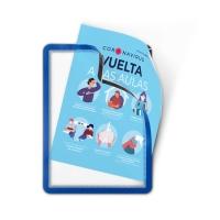 Pack de 2 fundas Porta-anuncio MAgNETO adhesivas A4 Azul