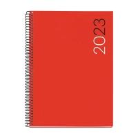 Agenda de sobremesa espiral MILENIUM, día página de 155 x 213 mm. Color rojo