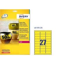 Caja de 540 etiquetas de poliéster AVERY L6105-20 cantos rectos amarillas