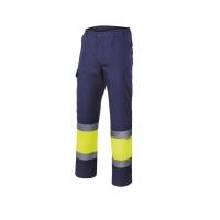 Pantalón VELILLA alta visibilidad azul marino/amarillo fluorescente XL
