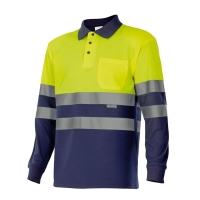 Polo alta visibilidad VELILLA manga larga amarillo fluorescente/azul XL