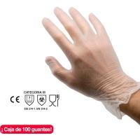 Caja de 100 guantes RUBBEREX VYL100.PF desechables de vinilo sin polvo talla 8