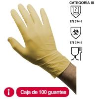 Caja de 100 guantes RUBBEREX LAT100.PF desechables de látex sin polvo talla 7