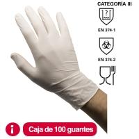 Caja de 100 guantes RUBBEREX LAT100.PD desechables de látex con polvo talla 7